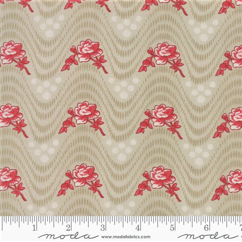 Moda Minick & Simpson Northport Prints 14881 13 Beige Red Wavy Floral By The Yard