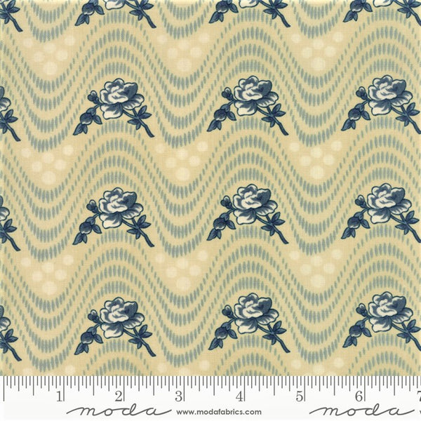 Moda Minick & Simpson Northport Prints 14881 23 Tan Blue Wavy Floral By The Yard