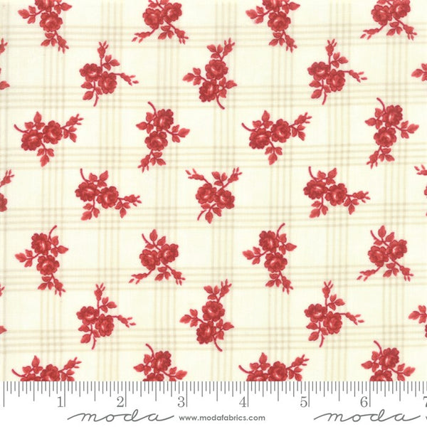 Moda Minick & Simpson Northport Prints 14882 11 Cream Red Rose Plaid By The Yard