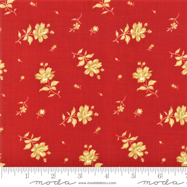 Moda Minick & Simpson Northport Prints 14883 19 Red Tan Floating Flowers By The Yard