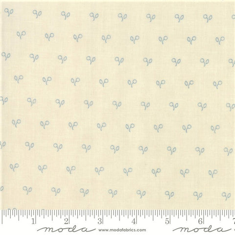 Moda Minick & Simpson Northport Prints 14887 12 Cream/Blue Stencil Berries By The Yard