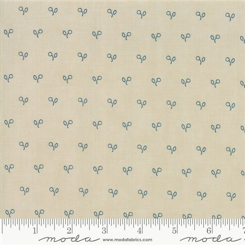 Moda Minick & Simpson Northport Prints 14887 13 Cream/Navy Stencil Berries By The Yard