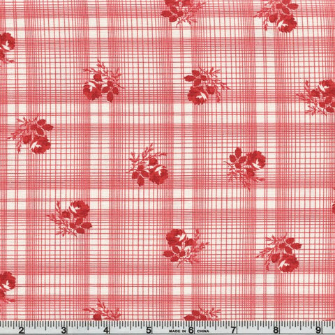 Moda Minick & Simpson Mackinac Island 14895 13 Red Rose Plaid By The Yard