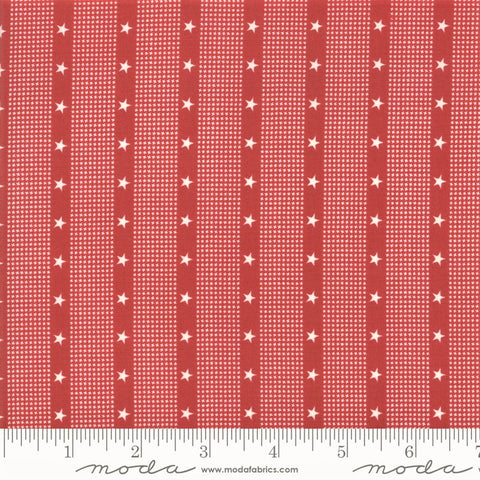 Moda Minick & Simpson Mackinac Island 14898 20 Red Stars Striped By The Yard