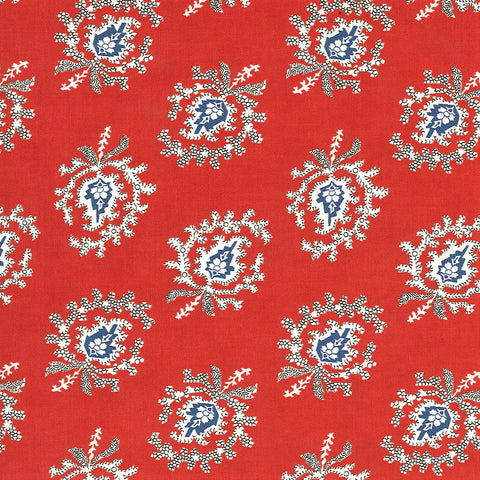 Moda Minick & Simpson Harbor Springs 14901 16 Red Indienne Paisley By The Yard