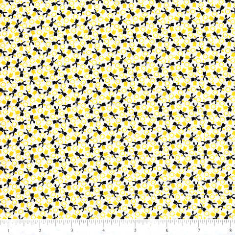RJR Fabrics Everything But The Kitchen Sink 1587 2 Tiny Yellow & Black Floral By The Yard