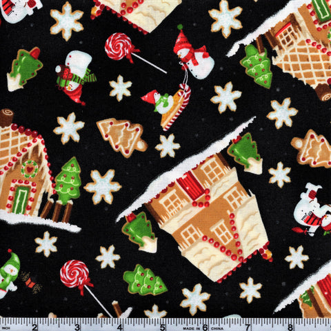 RJR Fabrics A Gingerbread Christmas 1509 2 Gingerbread Dreams Black By The Yard