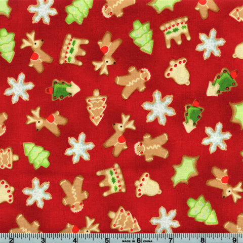 RJR Fabrics A Gingerbread Christmas 1511 2 Christmas Cookies on Red  By The Yard