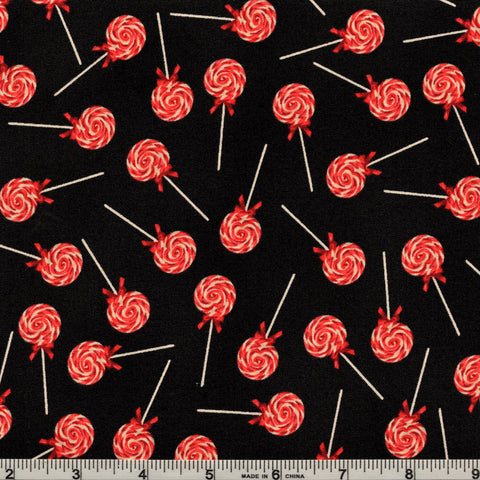 RJR Fabrics A Gingerbread Christmas 1512 2 Peppermint Swirls on Black By The Yard