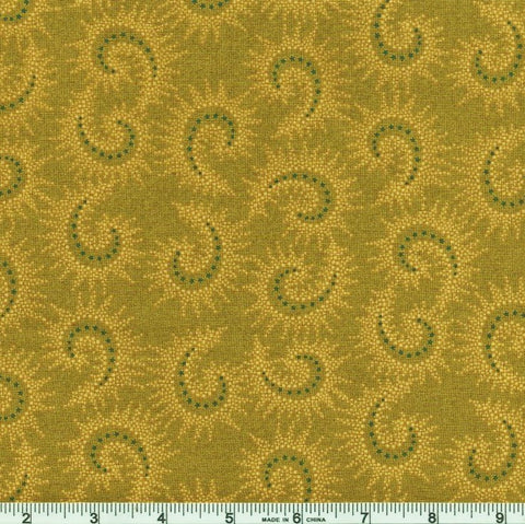 Henry Glass & Co. Sage & Sea Glass 1547 66 Green Starburst Paisley By The Yard