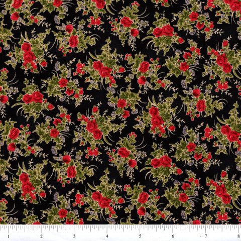 RJR Fabrics Tatiana 1553 2 Red Rose Bunches On Black By The Yard