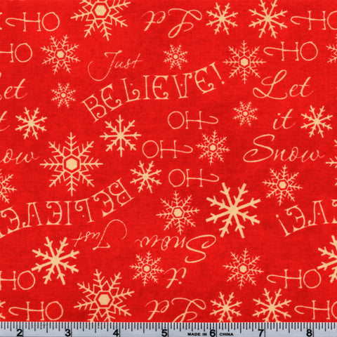 RJR Fabrics Holiday Dreams 1571 2 Candy Red Believe! By The Yard