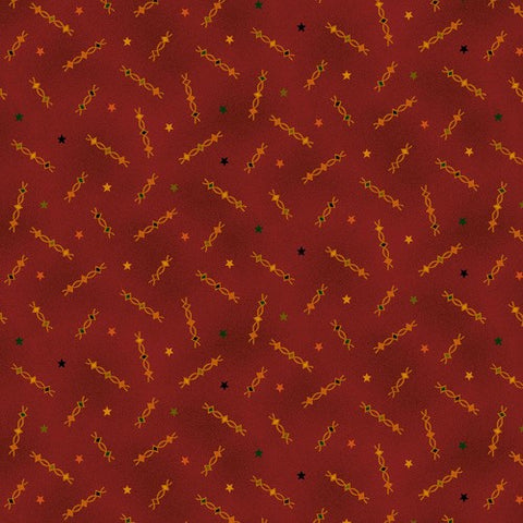 Henry Glass & Co. Liberty Star 1571 88 Red Plum Star Squiggles by the yard