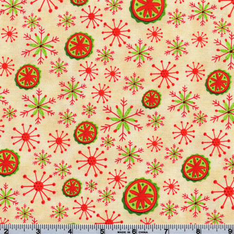 RJR Fabrics Holiday Dreams 1572 2 Christmas Brights On Cream By The Yard