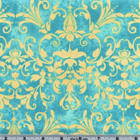 RJR Fabrics Holiday Dreams 1575 1 Ornamental Floral Turquoise & Cream By The Yard