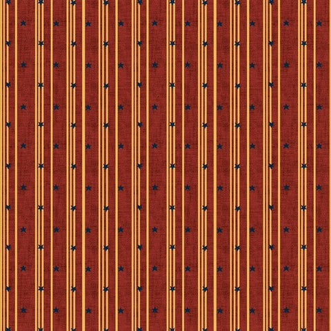 Henry Glass & Co. Liberty Star 1582 88 Deep Red Stars & Ticking Stripe by the yard