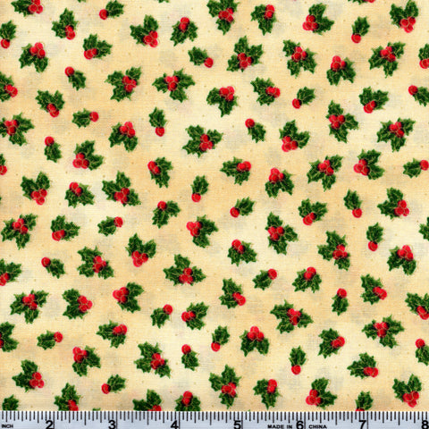 Quilting Treasures Sounds Of The Season 1649 23826 E Holly Berries On Cream By The Yard