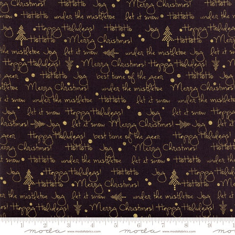 Moda White Christmas Metallic 1652 23 HoHoHo Black/Gold By The Yard
