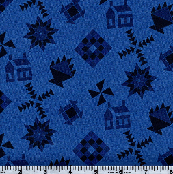 RJR Almost Amish 1662 3 Homestead Design On Blue By The Yard