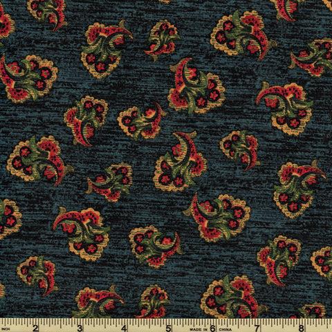 RJR Fabrics Briarcliff 1667 4 Mini Bouquet On Deep Water Blue By The Yard