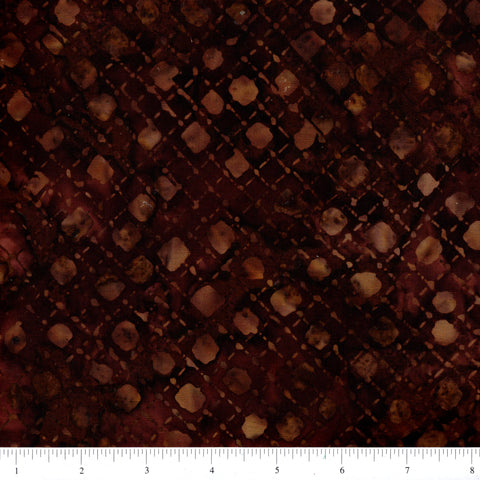 Anthology Batik 16702 Abstract Brown Diamond Grid By The Yard