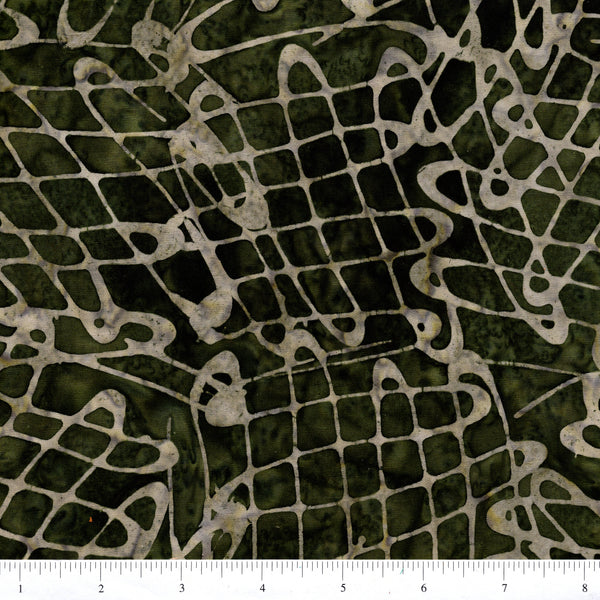 Anthology Batik 16706 Abstract Swirls On Forest Green By The Yard