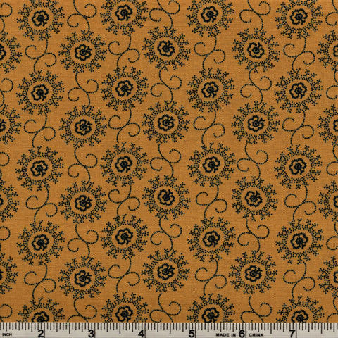 RJR Fabrics Briarcliff  1670 3 Madeline Black on Gold Floral By The Yard