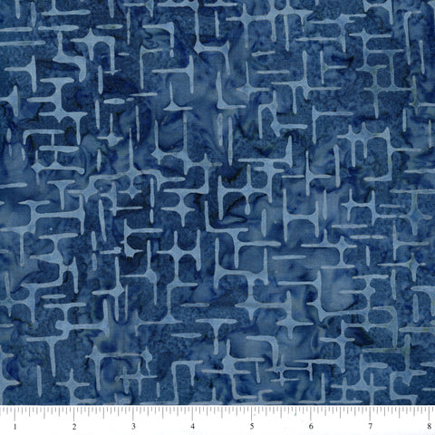 Anthology Batik 16715 Abstract Lines On Steel Blue By The Yard