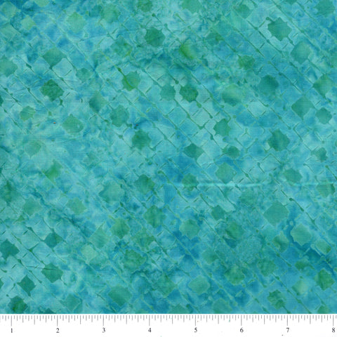 Anthology Batik 16733 Abstract Teal Diamond Grid By The Yard