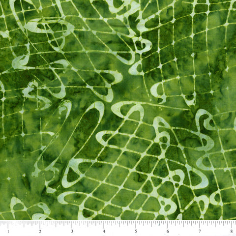 Anthology Batik 16736 Abstract Swirls On Dark Green By The Yard
