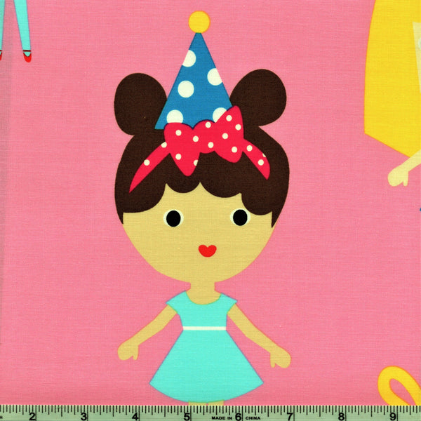 "Robert Kaufman Girl Friends 16982 203 Birthday Party Panel By The 23"" Panel (not by the yard)"