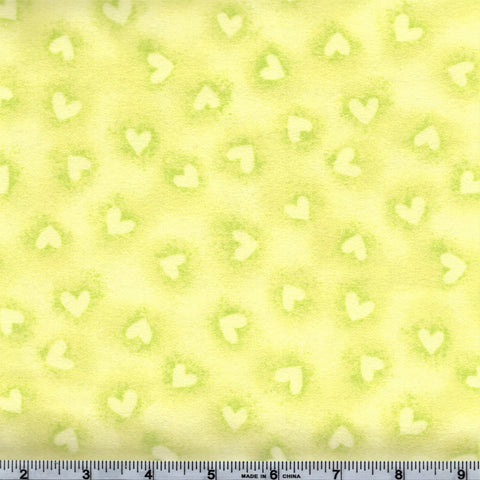 Robert Kaufman FLANNEL Baby Bunting 17009 50 Lime Heart Stamp & Spray - 1 yard