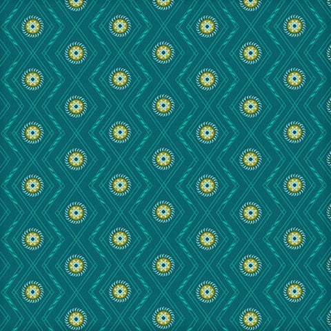 Henry Glass & Co. Far Horizons 1725 77 Teal Zig Zag Dot By The Yard