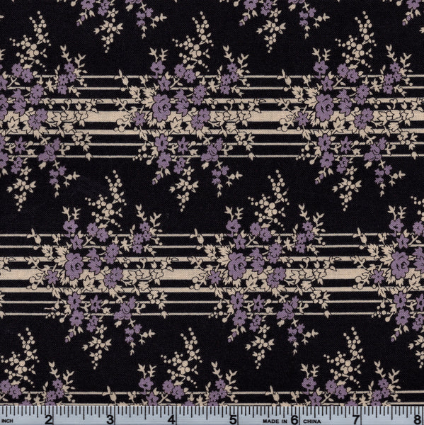 Legacy Club RJR Little Big Quilts 1744 1 Civil War Purple Floral Stripe By The Yard