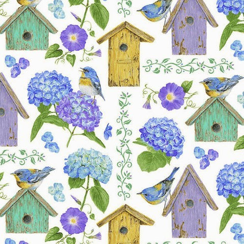 Henry Glass & Co. Hydrangea Birdsong 1757 17 White Birdhouses By The Yard