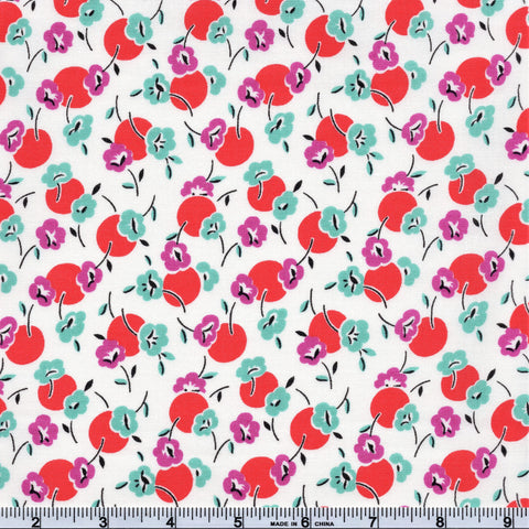 Moda Beach Road 18132 18 Gidget's Dots & Floral Fluffy White By The Yard