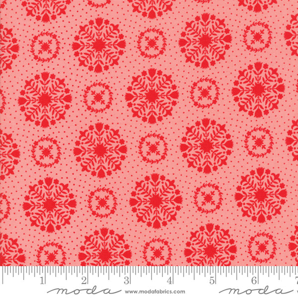 Moda Vintage Holiday 55166 14 Floral Snowflakes Pink/Red By The Yard