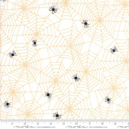 Moda Fabrics Dot Dot Boo 22331 24 Spiders and Their Webs Orange on Ivory By The Yard