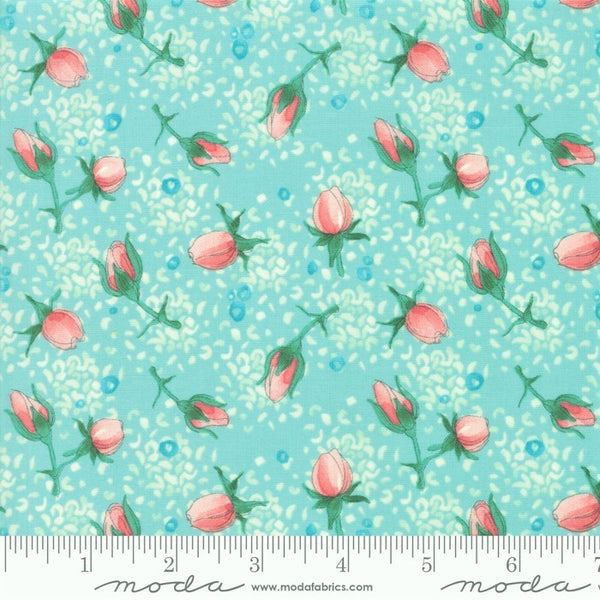Moda Robin Pickens Abby Rose 48672 15 Seafoam Rose Buds By The Yard