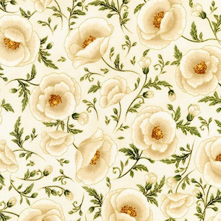 Kaufman Metallic Gilded Blooms 18702 15 Ivory Facing The Sun By The Yard