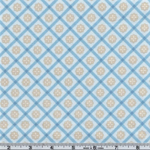 Kaufman Chesterfield 18865 289 Light Blue Floral Check By The Yard