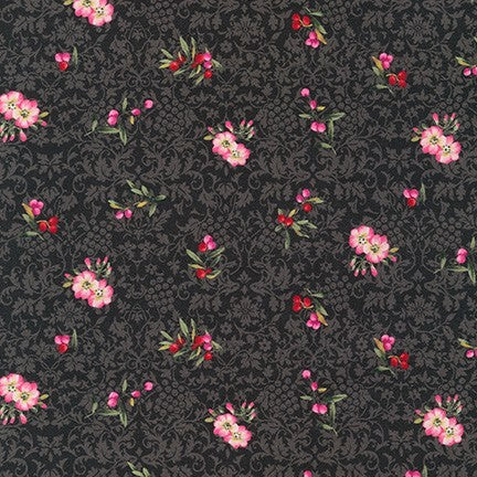 Kaufman Surrey Meadows 18925 184 Charcoal Blooms & Berries By The Yard