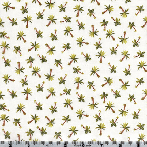 Makower UK Rex -1898 Q - Mini Palm Trees On Cream By The Yard
