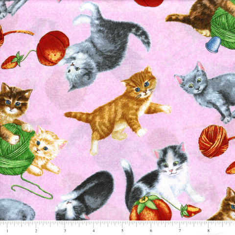 RJR Fabrics Purrfect Notions 1902 3 Cats At Play On Pink By The Yard