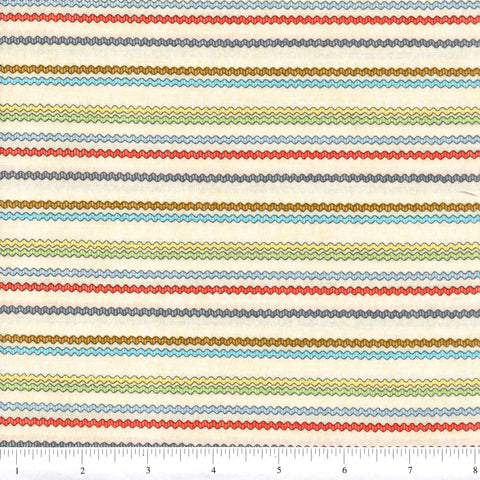 RJR Fabrics Purrfect Notions 1905 1 Multi Waves On Beige By The Yard