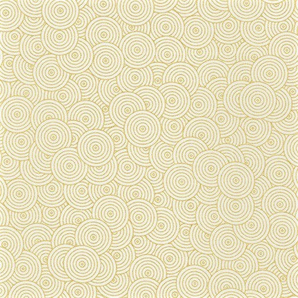 Kaufman Metallic Whisper Metallics 19218 1 White Gold Layered Circles By The Yard