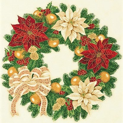 "Kaufman Holiday Flourish 13 Metallic 19252 223 Holiday Wreath 24"" PANEL By The PANEL (Not By The Yard)"