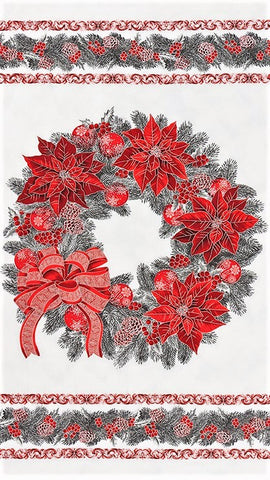 "Kaufman Holiday Flourish 13 Metallic 19252 93 Scarlet Wreath 24"" PANEL By The PANEL (Not By The Yard)"