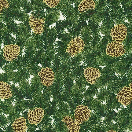 Kaufman Holiday Flourish 13 Metallic 19253 15 Ivory Cone & Branch By The Yard