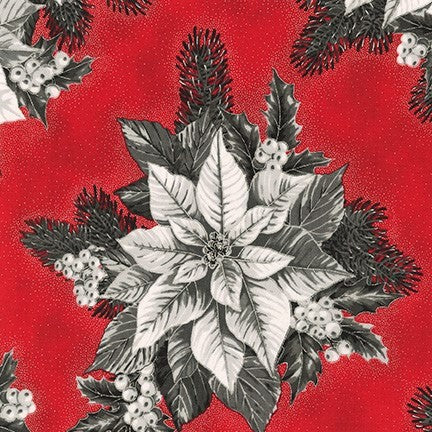Kaufman Holiday Flourish 13 Metallic 19257 93 Scarlet Poinsettia Centerpiece By The Yard